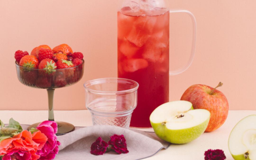 🌿 Recette : Thé glacé fraise, basilic et citron.
